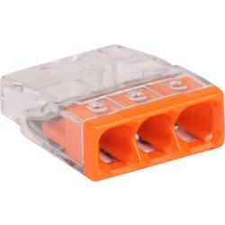 WAGO Bornes Wago 0,5-2,5mm² fils rigides 3 pôles orange - 43904 - de Toolstation