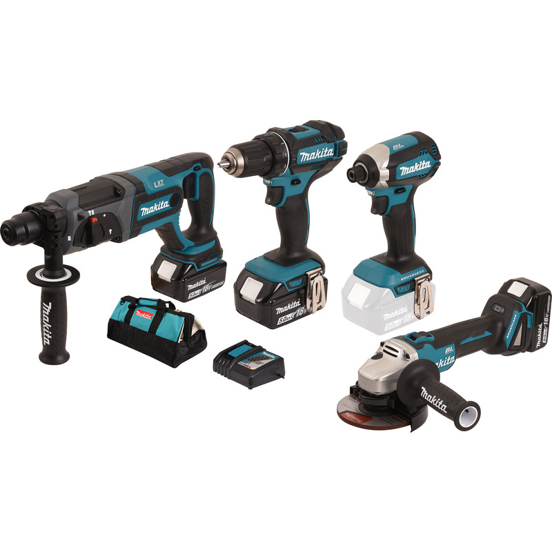 Pack 4 machines Makita DDF482 + DHR241 + DTD153 + DGA504